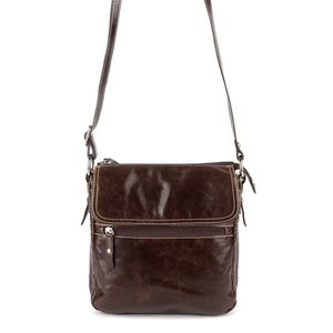 AURIELLE Brown Leather Flap Crossbody Bag
